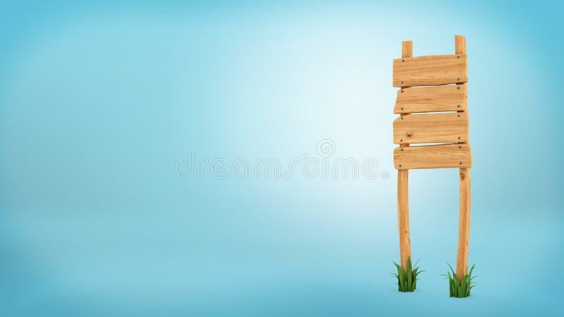 tolkning 3d av en trästolpe med fyra fyrkantiga bräden för information vektor illustrationer