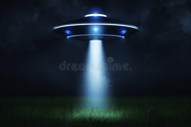 tolkning 3d av en ufo på natten med en stråle av ljus som kommer ut ur luckan och tänder en landa punkt i gräsplanen stock illustrationer