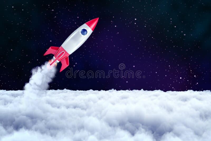 tolkning 3d av en utrymmeraket som har passerat till och med ett lager av tjocka moln och är precis nu överskriften in i öppet ut royaltyfri illustrationer
