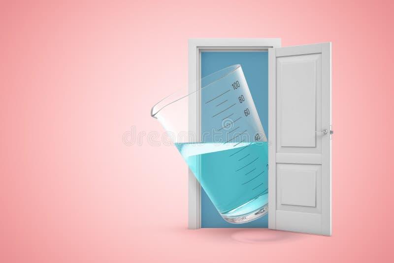 tolkning 3d av en vit öppen dörröppning med att mäta koppen som fylls med genomskinlig flytande på ljust - rosa bakgrund royaltyfri illustrationer