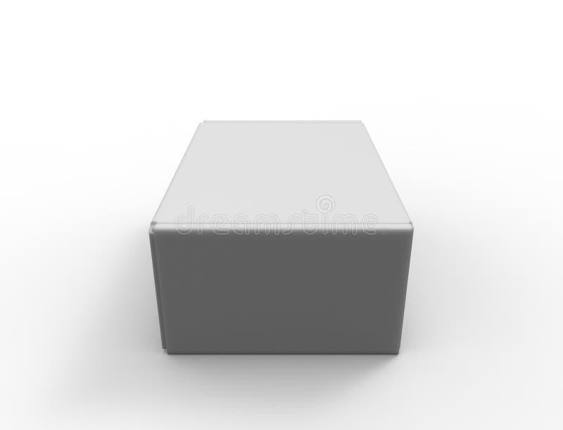 tolkning 3d av en vit ask för papp som isoleras i vit bakgrund vektor illustrationer
