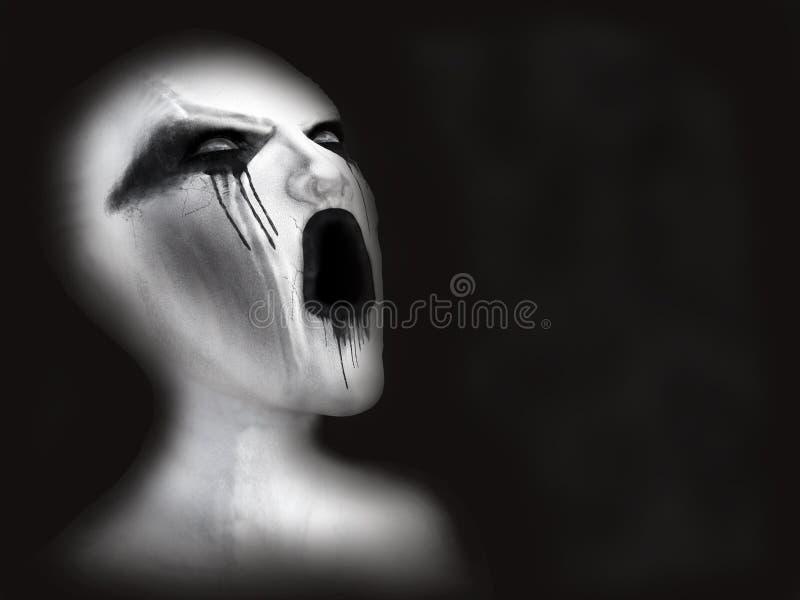 tolkning 3D av en vit demon eller spöke stock illustrationer