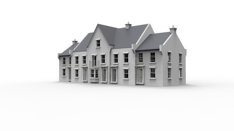 tolkning 3d av ett engelskt säteri för herrgård för modelllandshus i vit bakgrund royaltyfri illustrationer