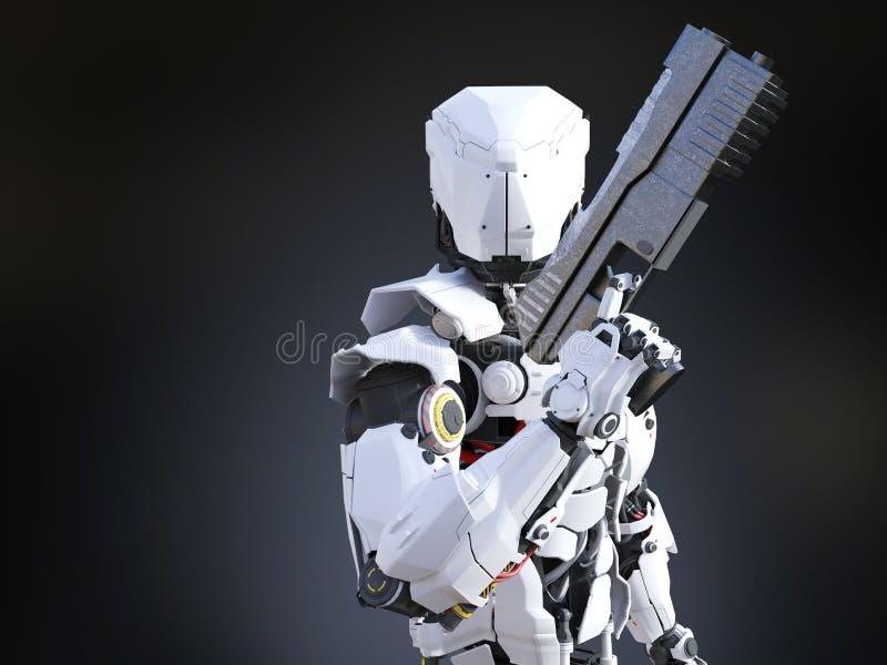 tolkning 3D av ett hållande vapen för futuristisk robotsnut royaltyfri illustrationer