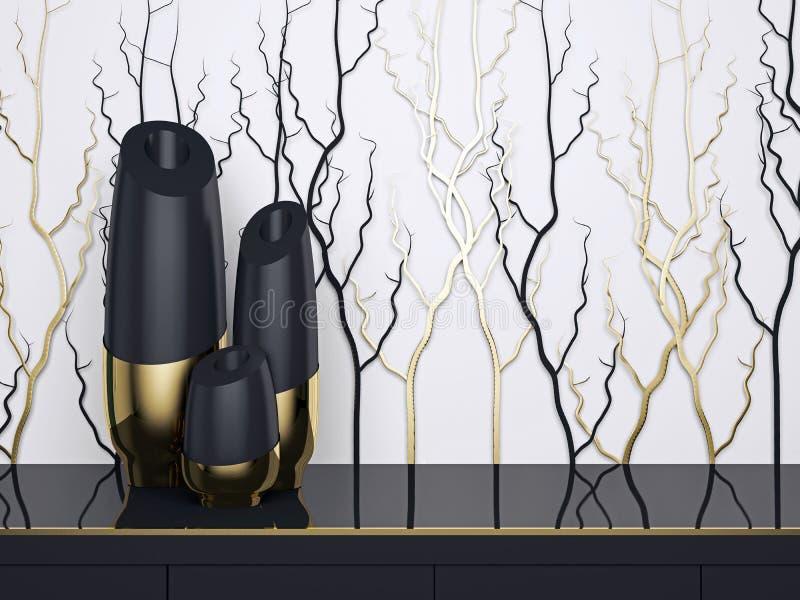 tolkning 3D av ett kontorsutrymme Lyxiga vaser royaltyfri illustrationer