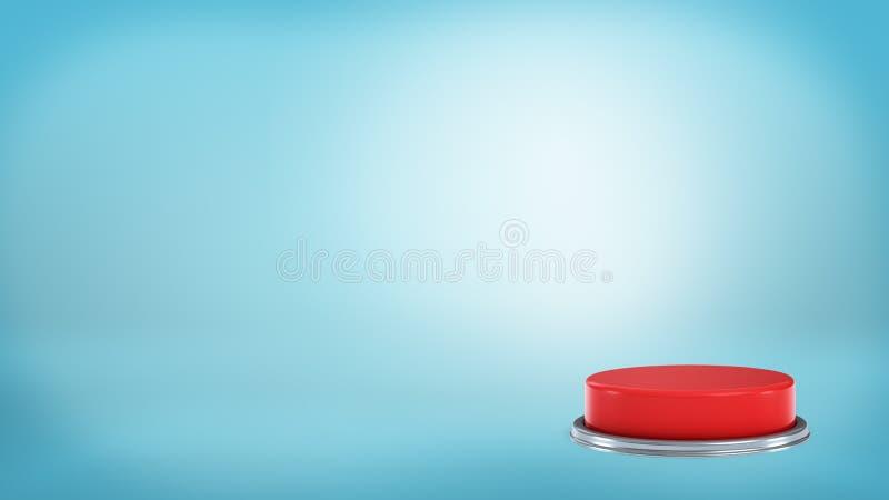tolkning 3d av ett stort runt rött tryckknappanseende på en blå bakgrund i av en placera vektor illustrationer