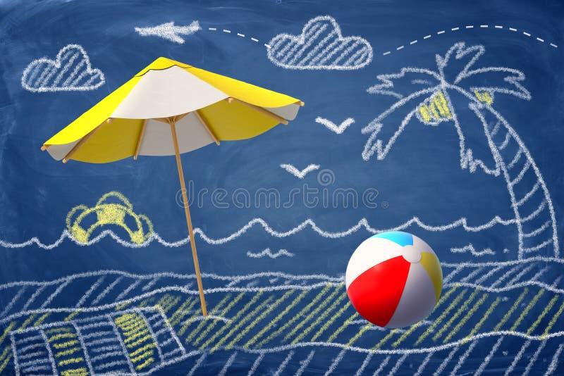 tolkning 3d av ett strandparaply och en strandboll mot en kritateckning av en strand, en palmträd och ett hav fotografering för bildbyråer