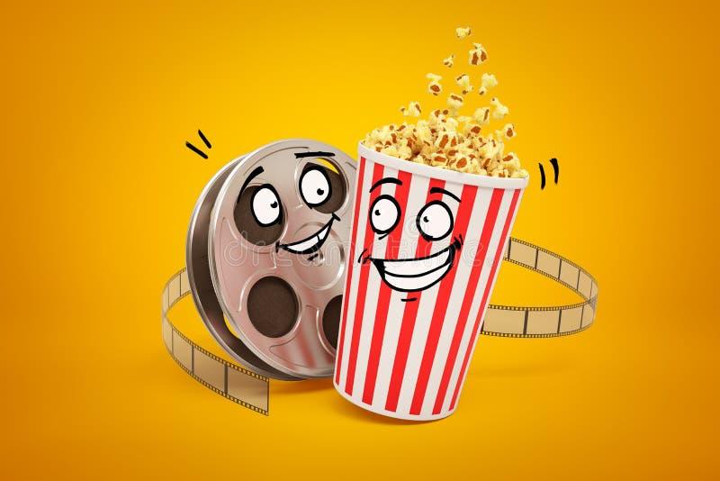 tolkning 3d av för för popcornhink och film för tecknad film den smiley rullen på gul bakgrund stock illustrationer