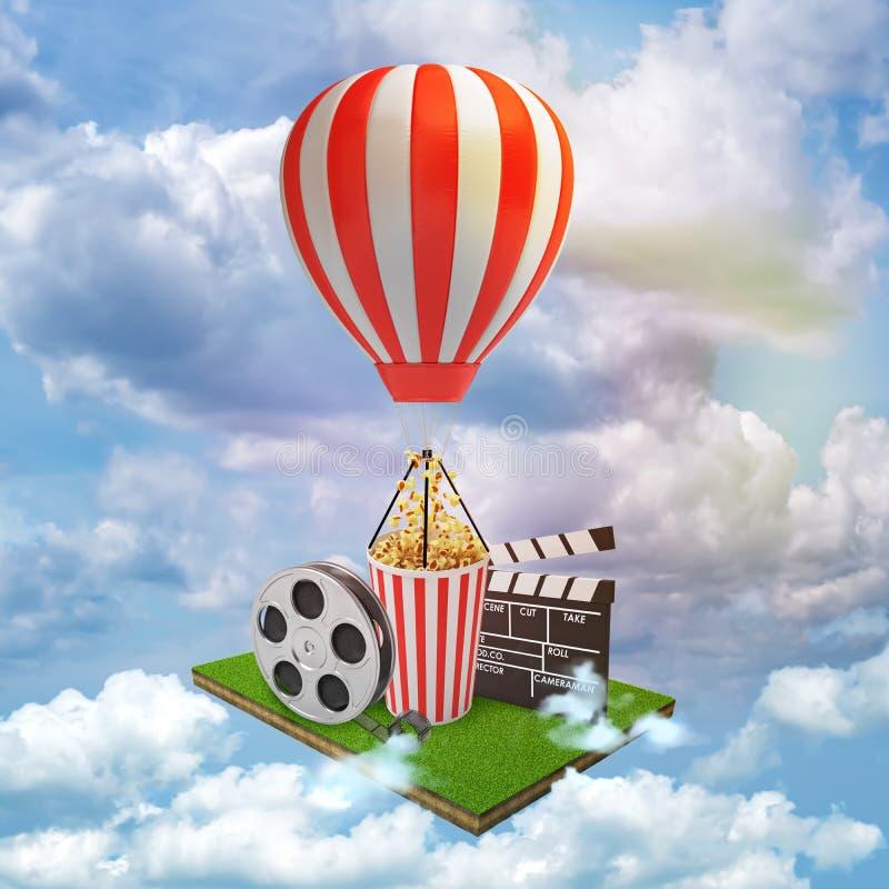 tolkning 3d av filmapplådbrädet, filmband, popcornhink med en röd vit ballong för varm luft på vita moln för blå himmel royaltyfri fotografi