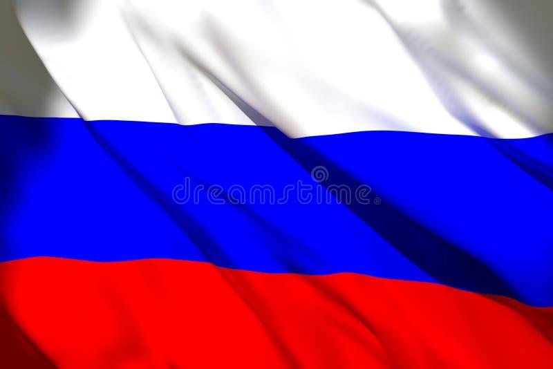 tolkning 3d av flaggan f?r rysk federation royaltyfri illustrationer