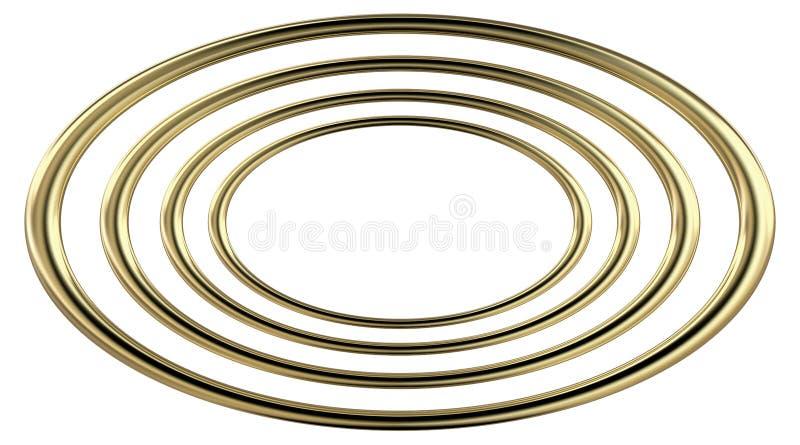 tolkning 3D av fyra koncentriska guld- ellipser stock illustrationer