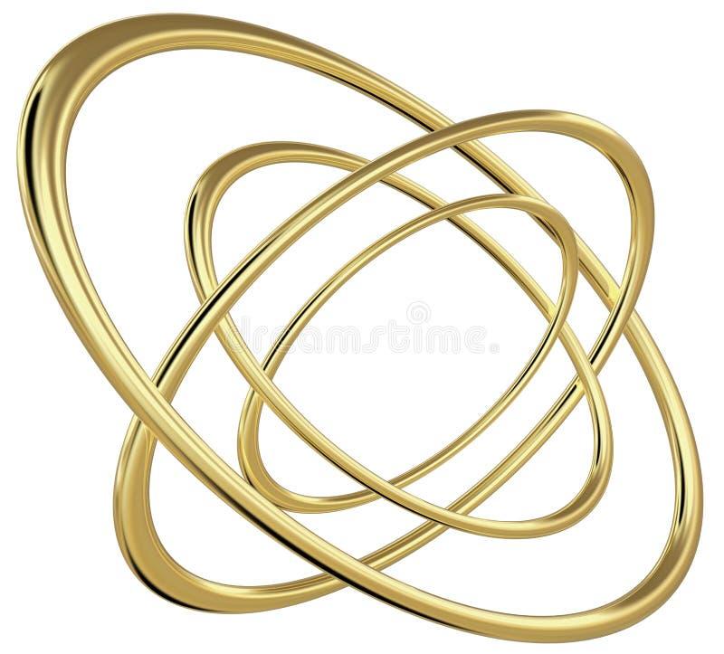tolkning 3D av fyra koncentriska guld- reflekterande ellipser vektor illustrationer