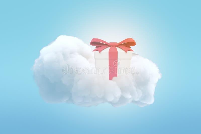 tolkning 3d av gåvaasken med det röda bandet överst av det vita molnet på blå bakgrund vektor illustrationer