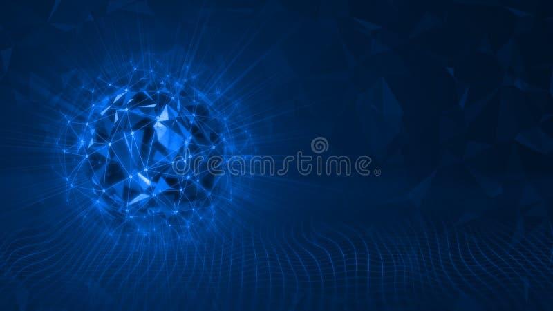 tolkning 3D av geometriformer för sfärisk triangel som omges med nätverket för raster för trådramingrepp och glödande läckaljus stock illustrationer