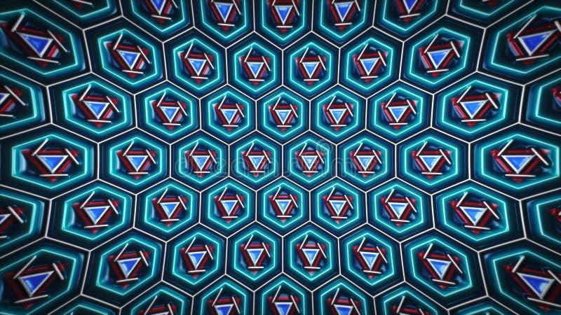 3d-rendering av Abstract Hexagon Geometric Surface, Neon Futuristic Technical interface bakgrund, hexagoncell på svart bak royaltyfri illustrationer