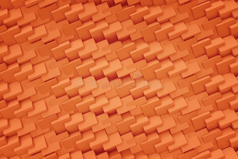 tolkning 3d av högkvalitativ bakgrundstextur med orange plast- stycken förbindelse till varandra med hack vektor illustrationer