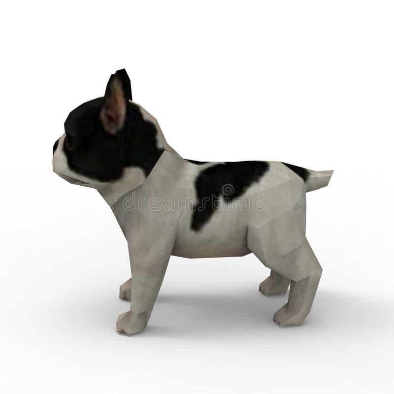 tolkning 3d av hunden som skapas, genom att använda ett blandarehjälpmedel stock illustrationer