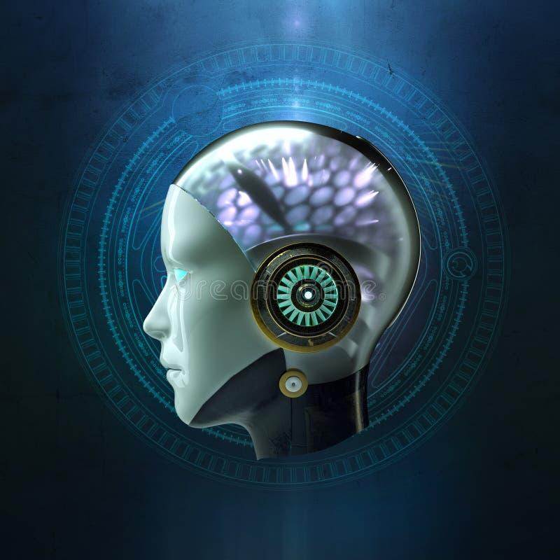 tolkning 3D av huvudet av en kvinnlig robot med den glödande hjärnan för cyber för konstgjord intelligens för ai för hög tech på  royaltyfri illustrationer