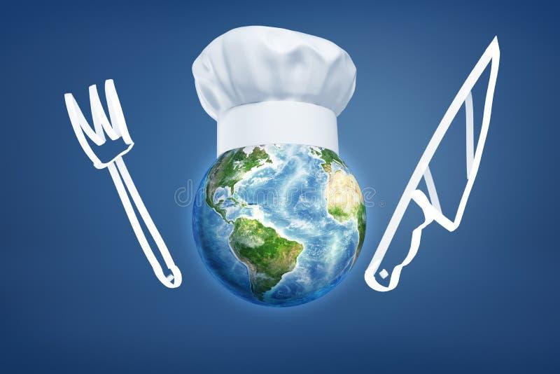 tolkning 3d av jordjordklotet med den kockhatten, kniven och gaffeln som dras på blå bakgrund stock illustrationer