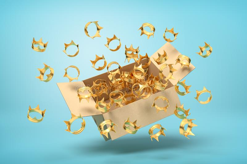 tolkning 3d av kartongen i luft som är full av guld- kronor som flyger ut och svävar utanför på blå bakgrund vektor illustrationer