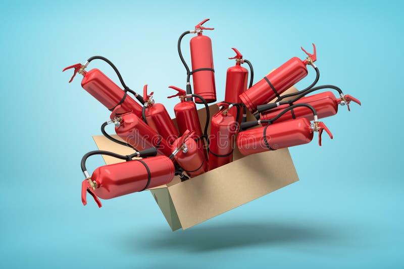 tolkning 3d av kartongen i luft som är full av röda brandsläckare som poppar ut på ljusblå bakgrund stock illustrationer