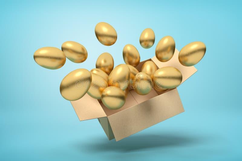 tolkning 3d av kartongen mycket av guld- ägg i mitt--luft på ljusblå bakgrund vektor illustrationer
