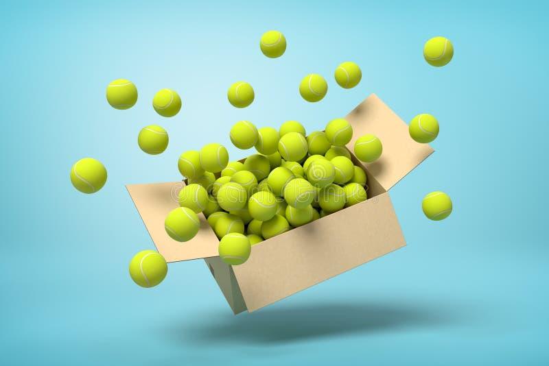 tolkning 3d av kartongen mycket av tennisbollar i mitt--luft på ljusblå bakgrund vektor illustrationer