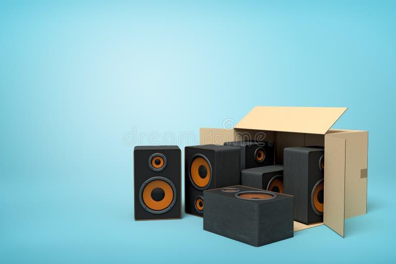 tolkning 3d av kartongen som ligger som är sido- med svarta ljudsignala högtalare inom och tre utanför på ljusblå bakgrund stock illustrationer