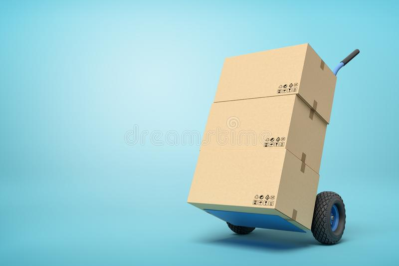 tolkning 3d av kartonger på en handlastbil på blå bakgrund vektor illustrationer
