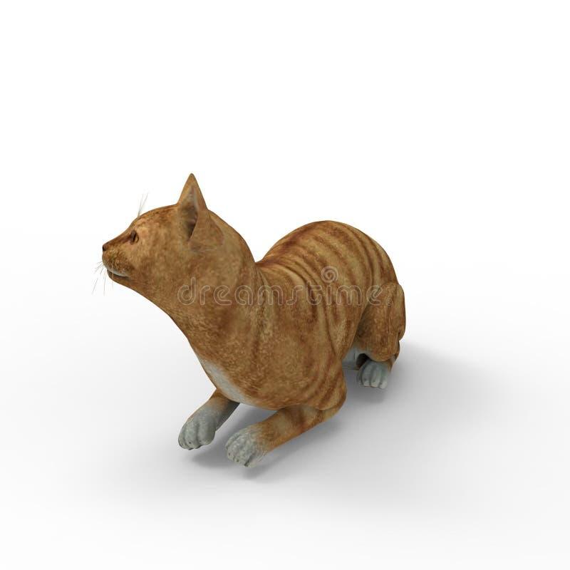 tolkning 3d av katten som skapas, genom att använda ett blandarehjälpmedel royaltyfri illustrationer