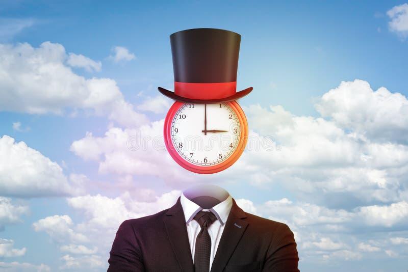 tolkning 3d av klockan som används som ett huvud som bär en trollkarlhatt, båda som hänger ovanför en tom affärsmans dräkt royaltyfri illustrationer