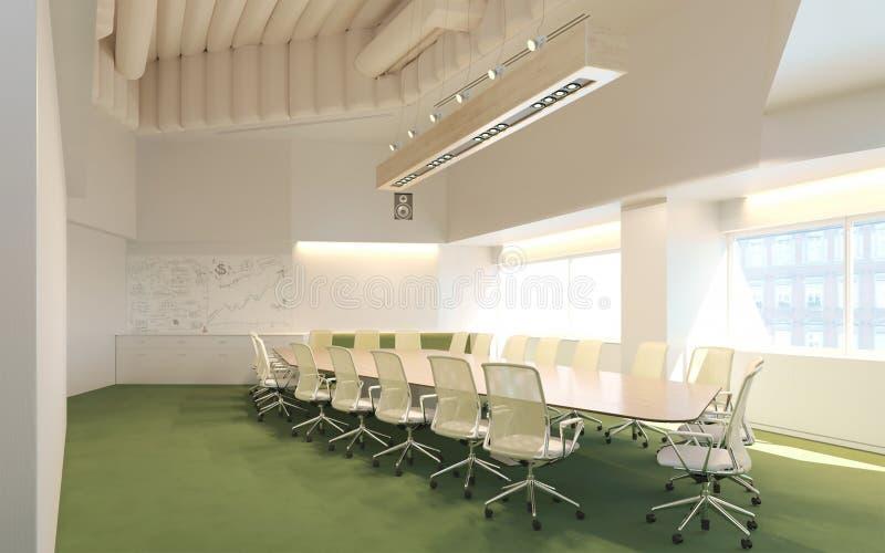 tolkning 3d av konferenskorridoren i inre för affärsmitt stock illustrationer