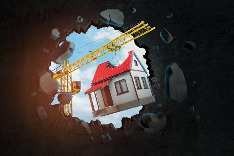 tolkning 3d av konstruktionskranen och det vita huset med brutet rött tak sett igenom mellanrum i svart vägg vektor illustrationer
