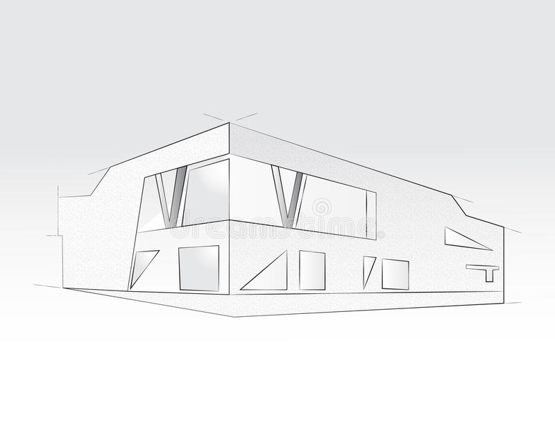 tolkning 3D av kontorsbyggnad, vit bakgrund Begrepp - modern arkitektur som planlägger stock illustrationer