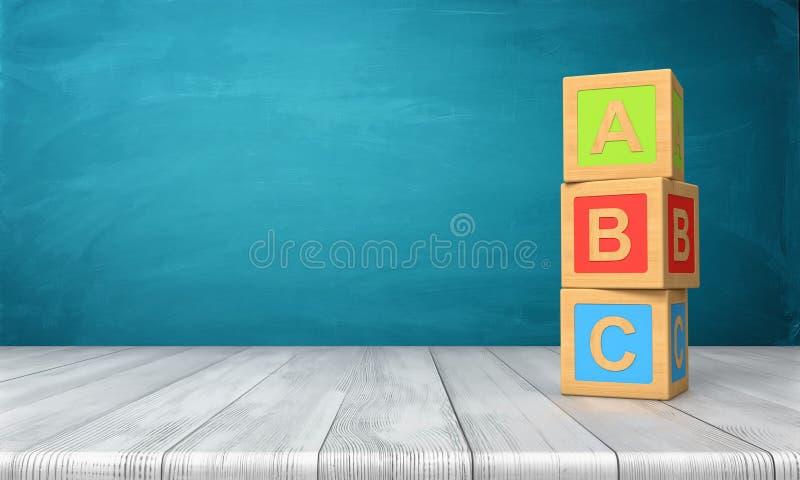 tolkning 3d av kvarter för en tre leksak som står på ett träskrivbord i ett torn med bokstäver A, B och C på dem royaltyfri illustrationer