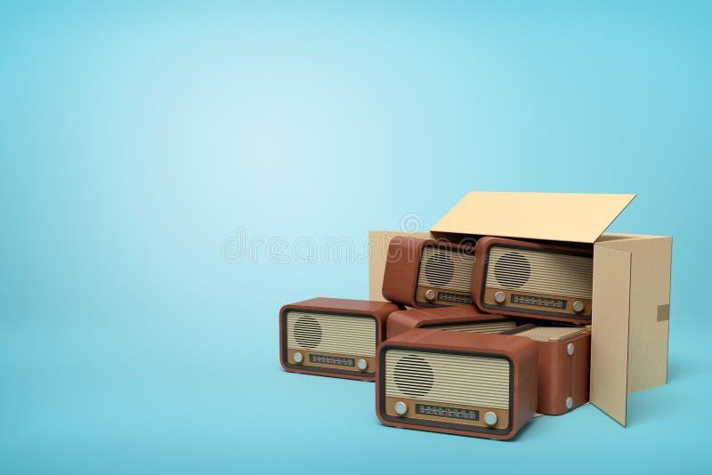 tolkning 3d av liggande sido- fullt för kartong av gammalmodiga radior på ljusblå bakgrund vektor illustrationer
