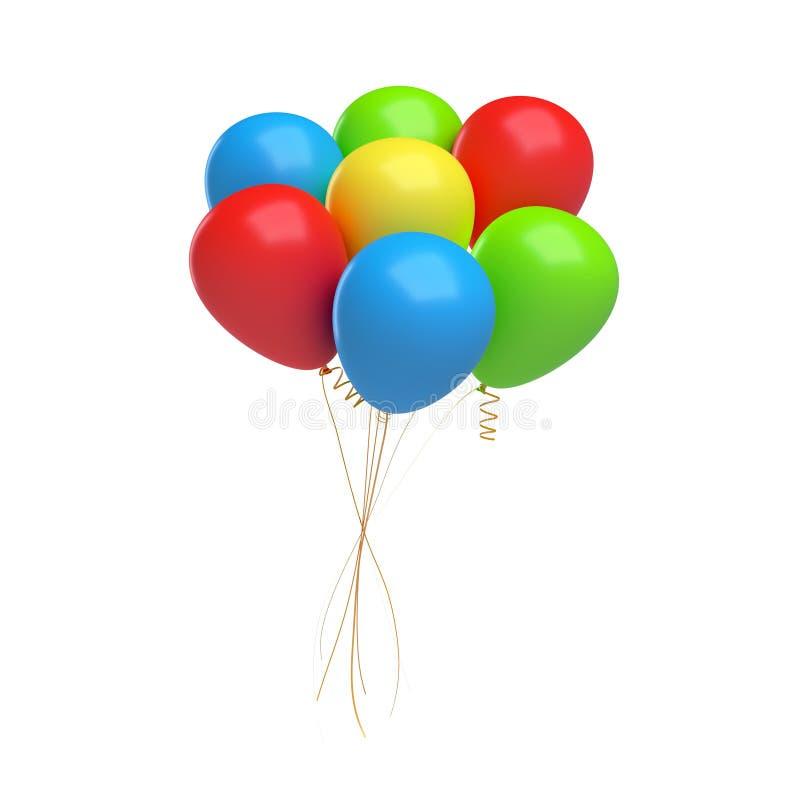 tolkning 3d av många färgrika ballonger som binds samman med en rad Gåvor och hälsningar royaltyfri illustrationer