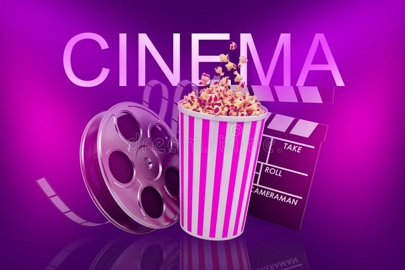tolkning 3d av popcornhinken med en filmfilmrulle och en clapper under ett ord BIO på en purpurfärgad bakgrund stock illustrationer