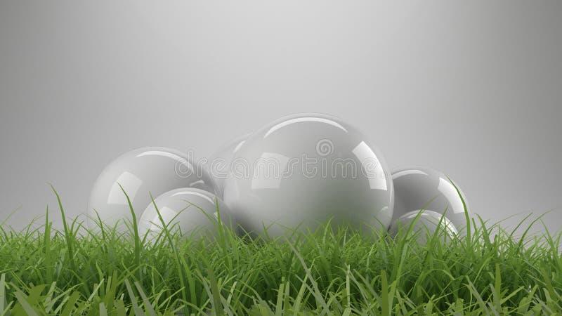 tolkning 3d av reflekterande sfärer med gräs vektor illustrationer
