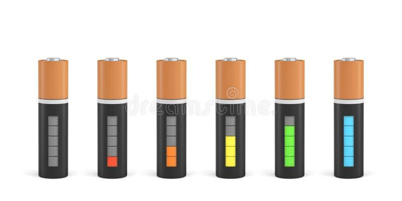 tolkning 3d av sex motorförbundettypbatterier med laddningsindikatorer i olika etapper av energinivåer stock illustrationer