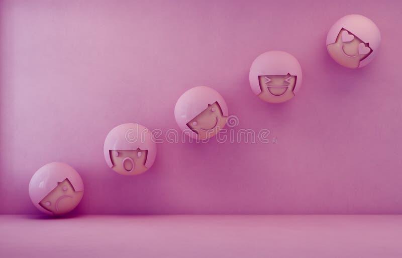 tolkning 3d av sinnesrörelsesymboler med det tom rosa färggolvet och väggbakgrund i lynne- och känslabegrepp royaltyfri illustrationer
