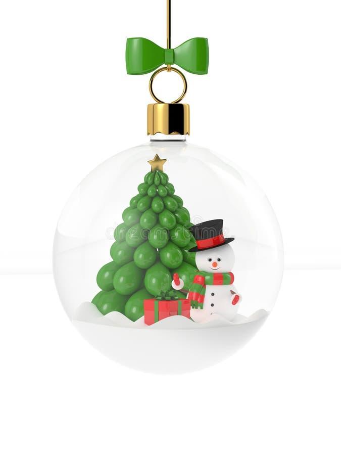 tolkning 3d av snögubben i en glass julstruntsak över vit vektor illustrationer