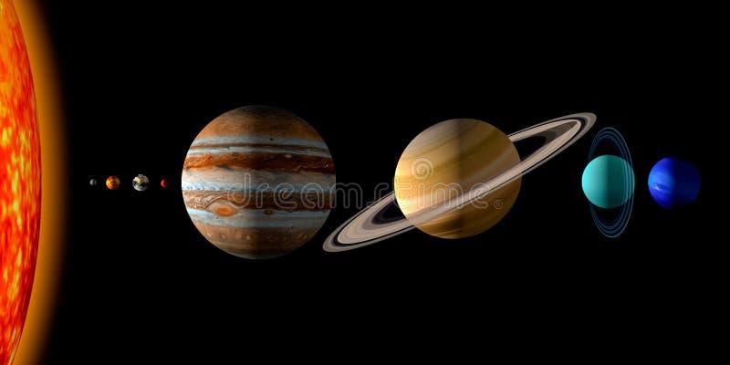 tolkning 3d av solen och de åtta planeterna av solsystemet stock illustrationer