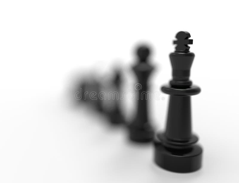 tolkning 3D av svarta schackstycken som isoleras p? vit bakgrund vektor illustrationer