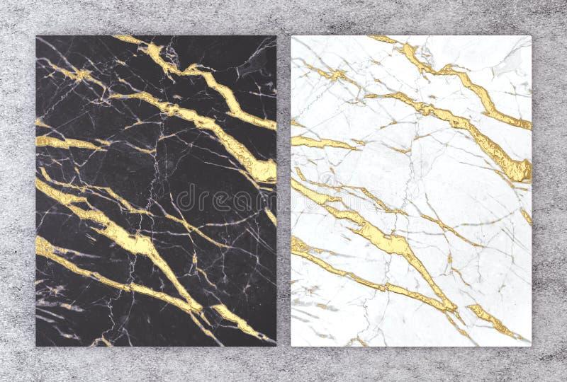 tolkning 3D av svartvit marmor med guld- folie för att gifta sig och att hälsa inbjudankortet eller din projektinredesign royaltyfri illustrationer