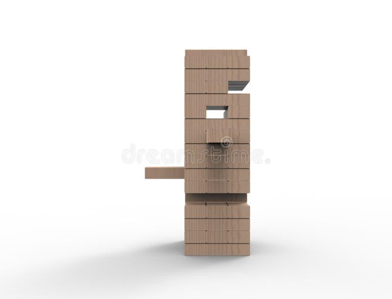 tolkning 3D av träkvartertornleken som isoleras i vit bakgrund royaltyfri illustrationer