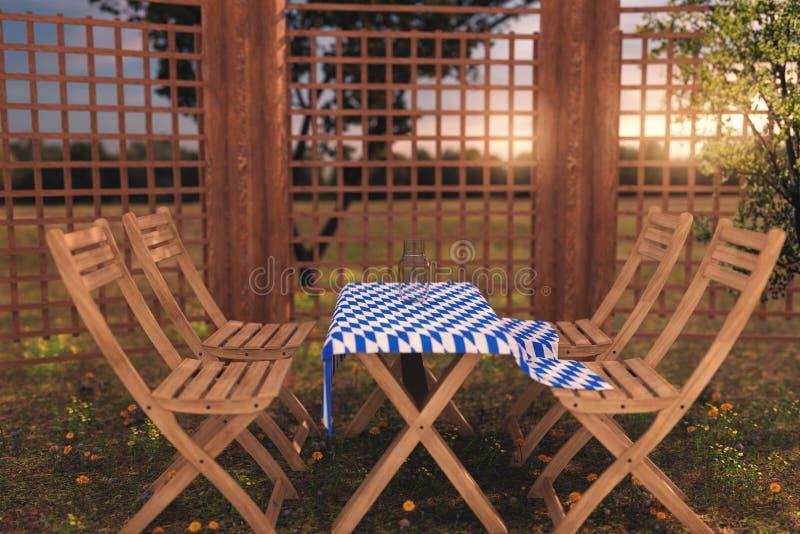 tolkning 3d av trämöblemang med bordduken i bavariansänka arkivbilder
