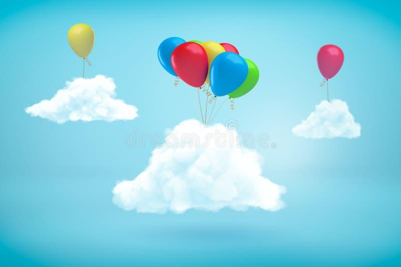tolkning 3d av tre fluffiga vita moln i den blåa himlen med färgglade heliumballonger som fästas till dem vektor illustrationer