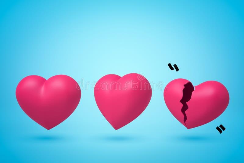 tolkning 3d av tre rosa hjärtor i raden, vänster hjärta som är bruten itu, på ljust - blå bakgrund vektor illustrationer