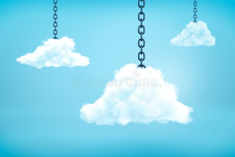 tolkning 3d av tre vita fluffiga moln som hänger på metallkedjor i den blåa himlen vektor illustrationer
